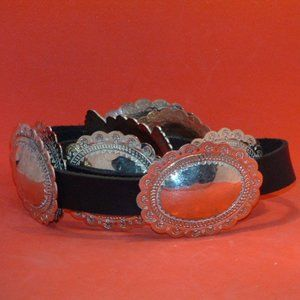 Vintage Concho Mexico Hammered Silver Belt